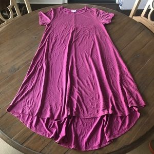 LuLaRoe S Carly dress- solid silky purple/fuchsia